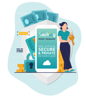 KACHING App onboarding screen - Data secure and private with you - V3
